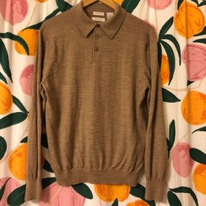 Madison tan fine merino wool collared polo sweater